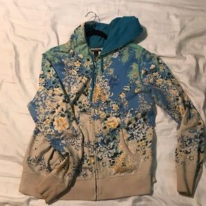 Lucky brand Floral  zip up hoodie